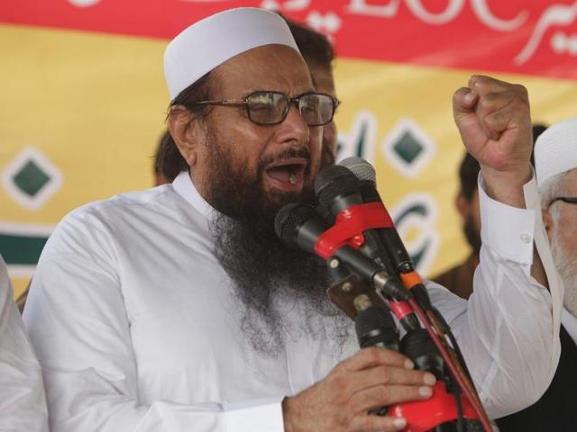 Hafiz Saeed, leader of Jamaat-ud-Dawa address an anti-Indian rally in Lahore, Pakistan.