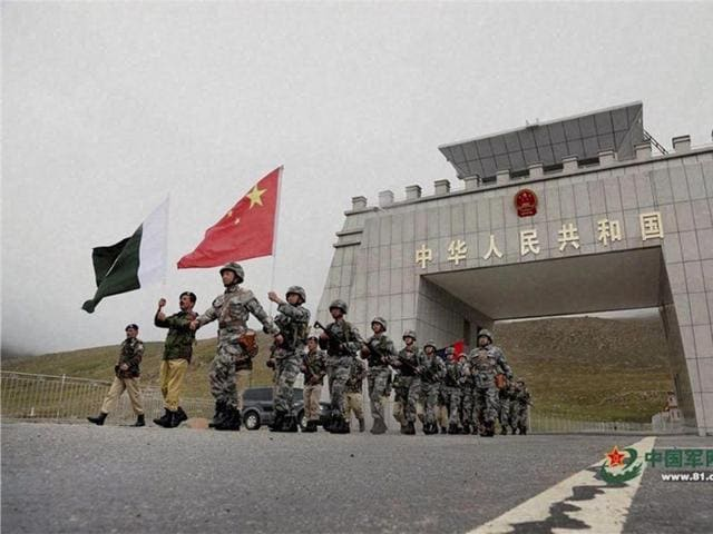 File photo of Chinese and Pakistan troops at the launch of their first joint patrolling of the border connecting PoK with Xinjiang province.
