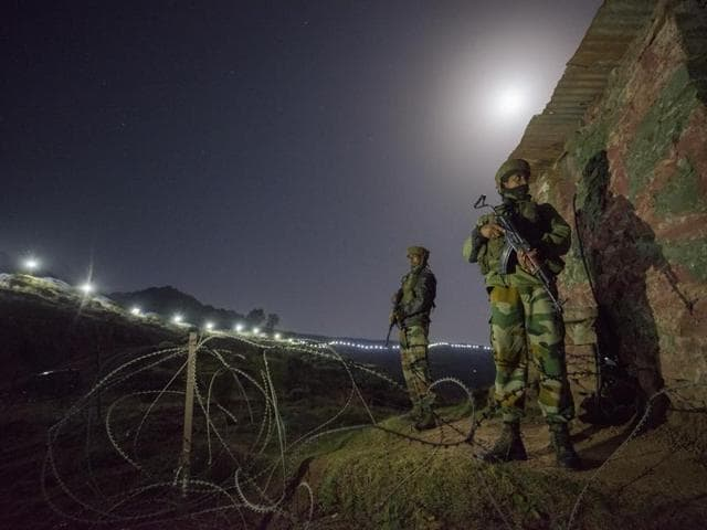Indian Army soldiers at a forward post in Hamirpur area near Bhimber Gali, about 180km northwest of Jammu, on Monday.