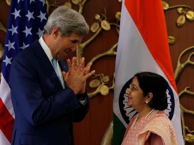 External affairs minister Sushma Swaraj with US secretary of state John Kerry during a joint news conference in New Delhi on August 30, 2016.