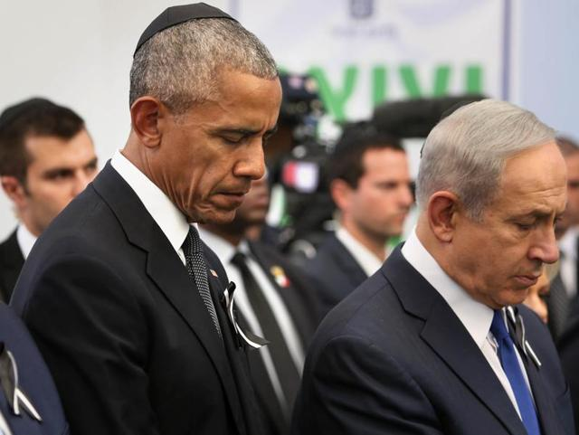 US President Barack Obama and Israeli Prime Minister Benjamin Netanyahu during the funeral of former Israeli president and prime minister Shimon Perse at the Mount Herzl national cemetery in Jerusalem.