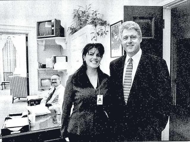 Monica Lewinsky (L), one-time White House intern, with former US president Bill Clinton in 1995. (Reuters photo)