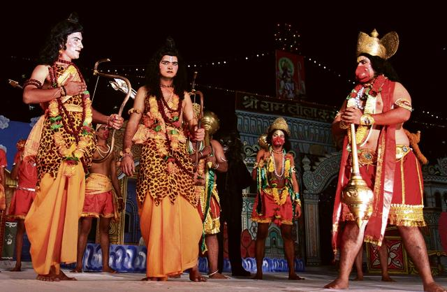 A scene from the Ram Lila performed on 05 October, 2011 at the Ram Lila Maidan in Delhi. 2011 was the centenary year of Ram Lila performances at the venue.