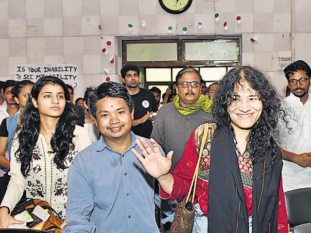 Irom Chanu Sharmila with students at Delhi University on Friday.