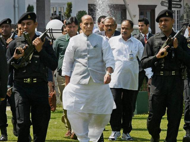 Home minister Rajnath Singh the issue of the soldier who strayed across the Line of Control will be taken up with Pakistan.(PTI Photo)