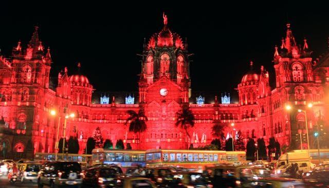 CST Railway station illuminates red to commemorate World Heart Day in Mumbai