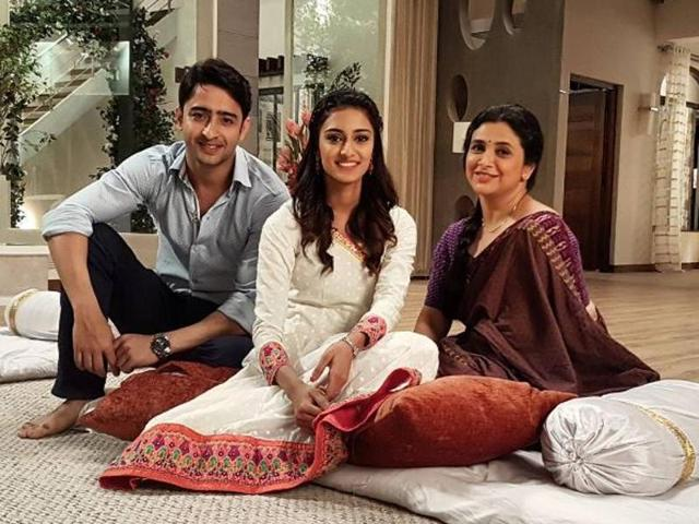 Erica Fernandes with her co-actors Shaheer Sheikh and Supriya Pilgaonkar.