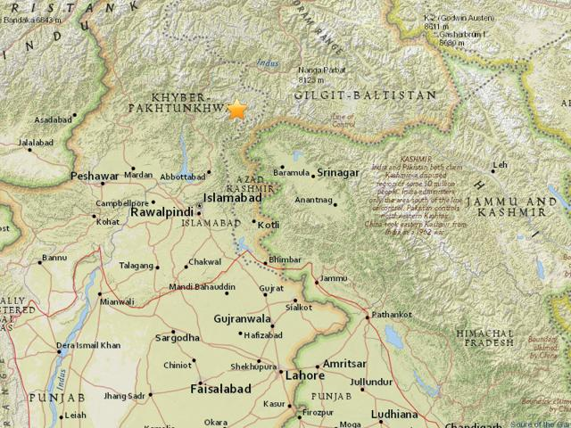 An earthquake with a magnitude of 5.4 struck Pakistan.