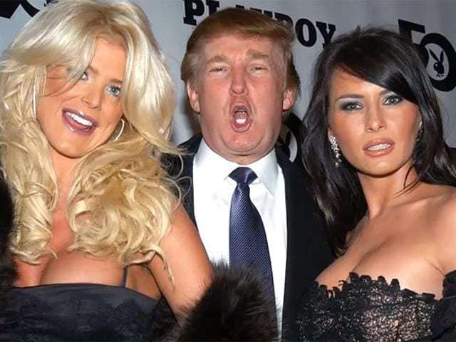 In the video obtained by BuzzFeed, Trump is seen welcoming several Playboy playmates to New York City as the magazine searched for the Playmate of the Year.