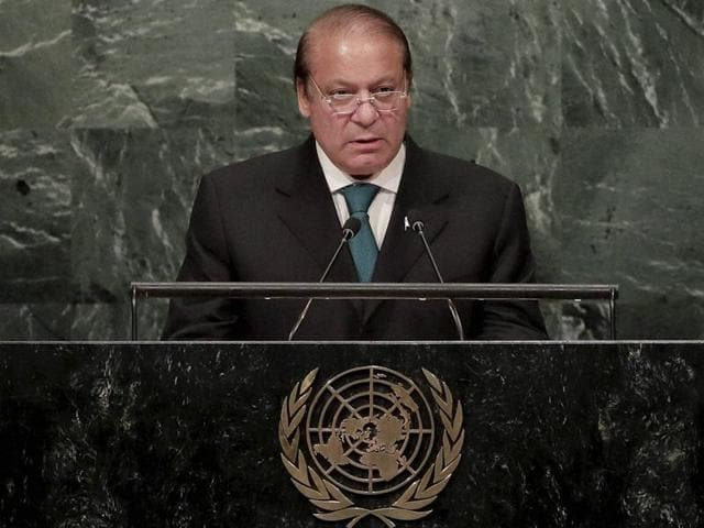 Pakistan Prime Minister Nawaz Sharif speaks during the 71st session of the United Nations General Assembly at UN headquarters.