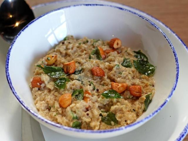 Toasted oats and dry fruits upma by Chef Jaydeep Mukherjee.