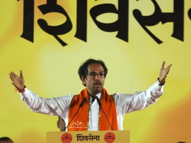 Shiv Sena president Uddhav Thackeray  addresses a gathering in Bandra.