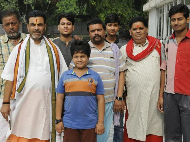 The Chaturvedi family at the Sector-27 Ramlila ground on Friday.