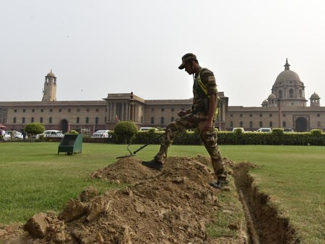 Tight security put in place at outside home ministry, North Block in New Delhi during an all-party meeting after Indian Army's surgical strikes along the LoC  on Thursday.
