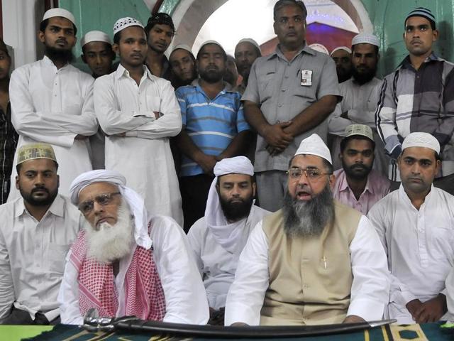 Chief imam Maulana Umer Ilyasi (right), national president, All India Imam Council, Delhi, at Jama Masjid in Ludhiana.