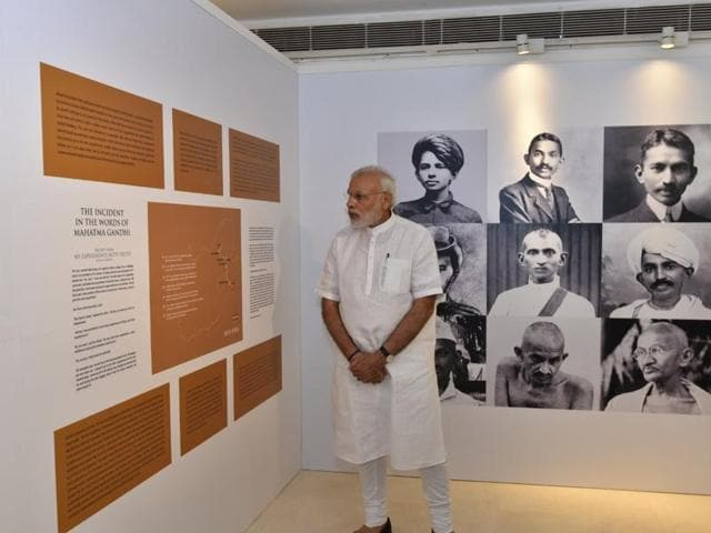 PM Modi at the Pravasi Bharatiya Kendra museum in New Delhi on Sunday.