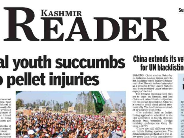 The Jammu and Kashmir government on Sunday ordered closure of English newspaper Kashmir Reader, citing 'public tranquillity' as the reason.