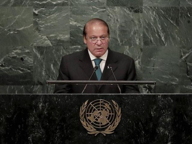 Pakistan PM Nawaz Sharif speaks during the 71st session of the United Nations General Assembly, at UN headquarters.