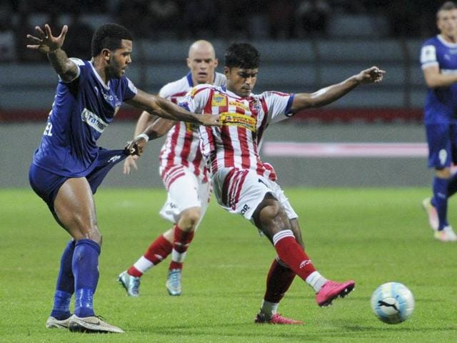Atletico De Kolkata's Pritam Kotal in action during the ISL match against Chennaiyin FC.