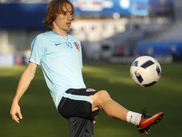 Luka Modric during Croatia's training session.