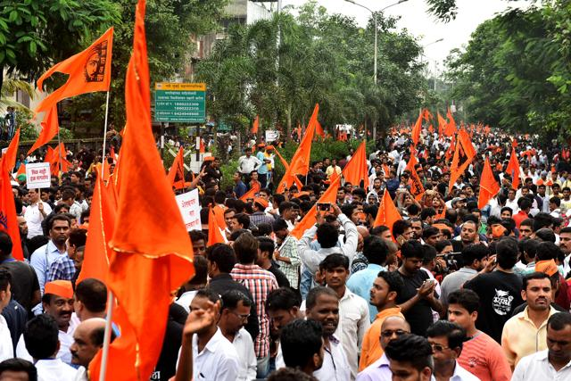 Marathas carry out a silent rally from Kharghar to Konkan Bhavan in Navi Mumbai on September 21.