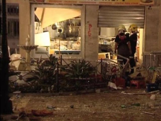 A view of the site after a gas cylinder exploded in a cafe in Velez-Malaga, Spain on Saturday night.