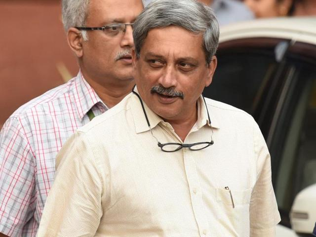 Defence minister Manohar Parrikar coming out from all-party meeting in New Delhi on Thursday following Indian army's surgical strikes along the LoC.