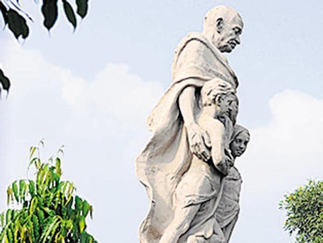 Even the Gandhi Smarak School named after Mahatma Gandhi lacks his statue.