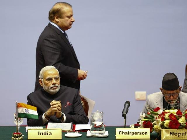 Prime Minister Narendra Modi, Pakistan's Prime Minister Nawaz Sharif and Nepal's then Prime Minister Sushil Koirala attend the opening session of 18th South Asian Association for Regional Cooperation (SAARC) summit in Kathmandu November 26, 2014.