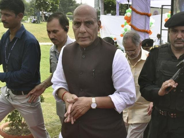 Union minister for home affairs Rajnath Singh at an event at Central park in New Delhi's Connaught Place.
