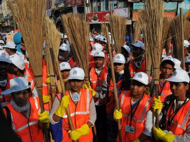 IMC workers at a rally held to spread awareness on cleanliness in Indore on Sunday.