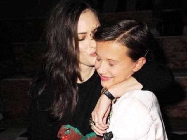 Winona Ryder with her co-star from Stranger Things, Millie Bobby Brown.