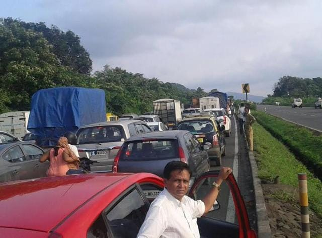 Motorists wait for traffic to clear on the Versova bridge.