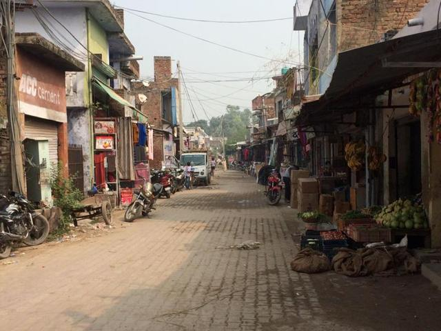 A market wearing a deserted look at a border village in Bamyal sector in Pathankot.