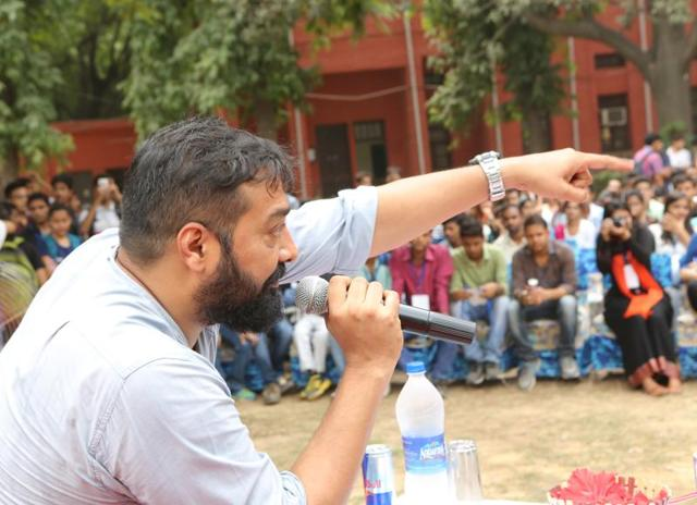 Director-producer Anurag Kashyap in conversation with the students of  Hindu College.