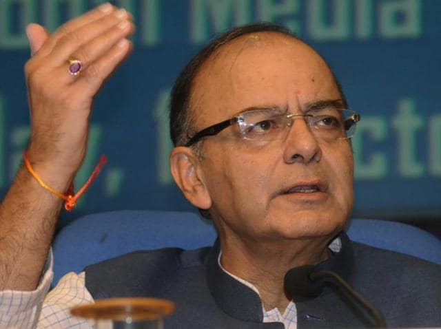 Minister for finance and corporate affairs, Arun Jaitley, addresses a press conference in New Delhi.