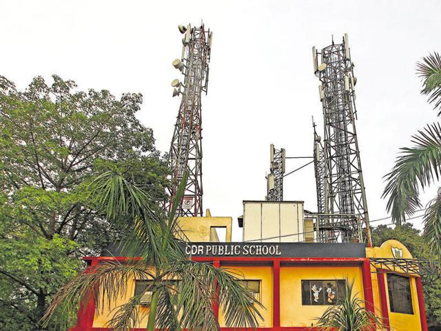 Mobile towers on the roof of CRD Public School Vasant Kunj in New Delhi.