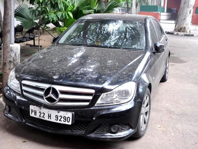 The Mercedes parked in Sector 11 police station on Sunday.