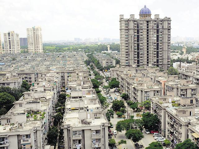 A view of Shipra Suncity that was targeted by a gang of burglars onSaturday evening.