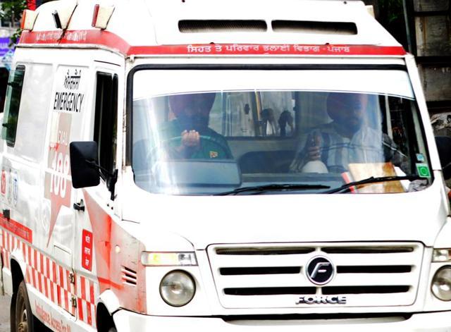 Ambulance 108 at Rajindra Hospital in Patiala.