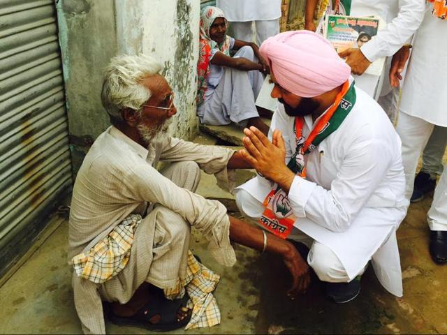 PPCC general secretary Vikramjit Chaudhary during the door to door Chetna Yatra in Phillaur on Sunday.