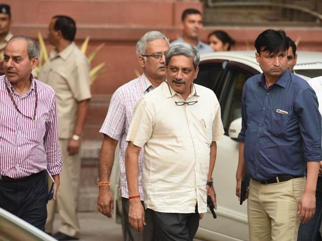 Manohar Parrikar coming out from all-party meeting in New Delhi on Thursday following Indian army's surgical strikes along the LoC on September 29, 2016.