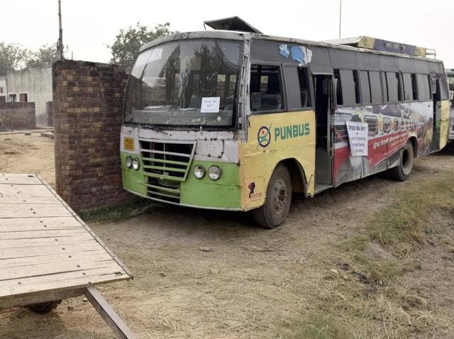 Two government buses parked outside Mullakot village near the International Border in Amritsar district on Sunday.