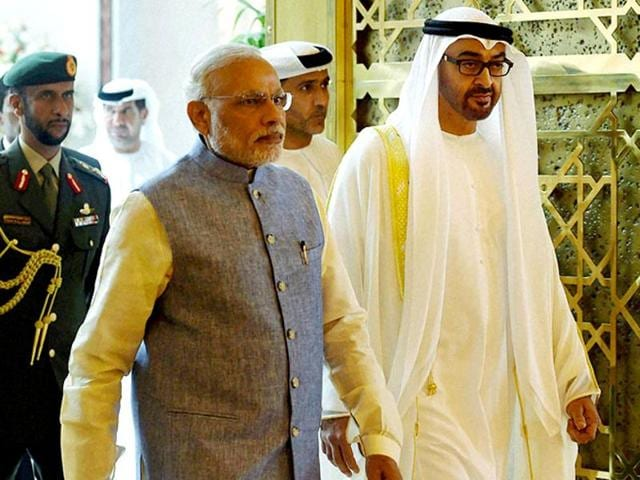 Prime Minister Narendra Modi at the Sheikh Zayed Grand Mosque in Abu Dhabi on the first day of his two-day visit to the UAE (File Photo)
