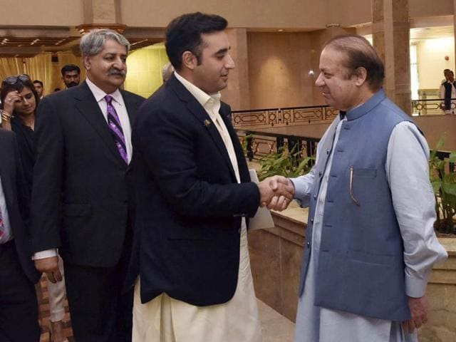 Pakistani Prime Minister Nawaz Sharif, right, receives Bilawal Bhutto Zardari, chairman of Pakistan People's party for a meeting in Islamabad.