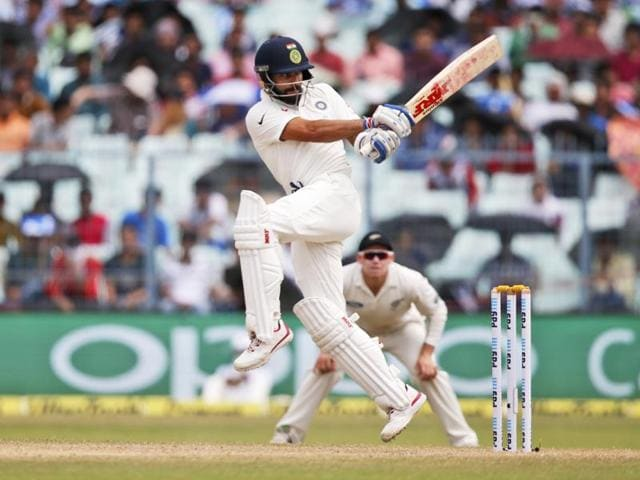 indian cricketer Virat Kohli ducks a rising delivery on the third day of the second cricket test match.