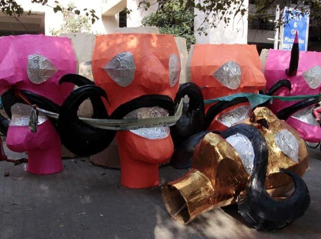 Ravana effigies in the making atTatarpur, West Delhi.