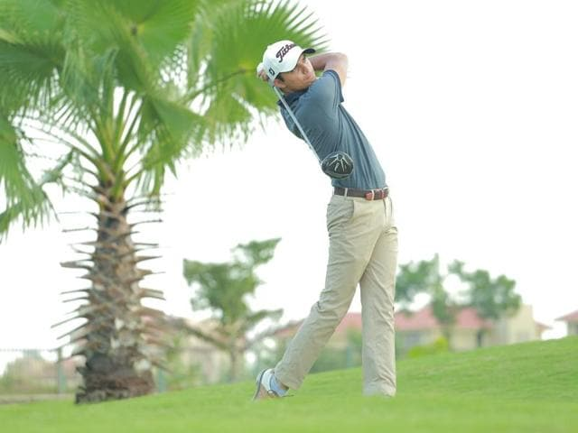 Ajeetesh Sandhu was two clear of the field at seven-under 65 on an incomplete opening day.