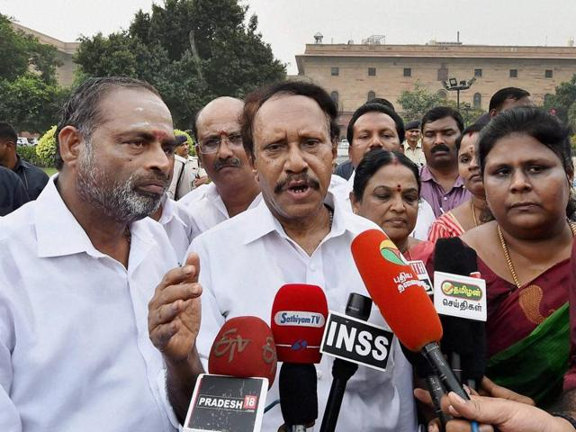 A delegation of AIADMK MPs led by M Thambidurai addresses the media after submitting a memorandum to Prime Minister Narendra Modi to discuss the Cauvery issue at South Block in New Delhi on Tuesday.(PTI)