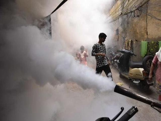 Municipal Corporation of Delhi (MCD) conducting a fumigation drive to tackle dengue and chikungunya in East Delhi.